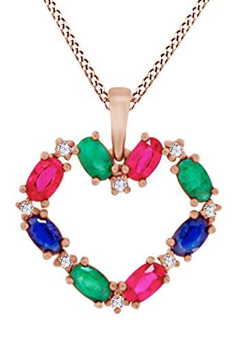 AFFY Herren Damen Unisex Kinder -  Gold 9 Karat (375)  10-Karat-Rotgold Ovalschliff      (10 K Gold Herren Halskette)