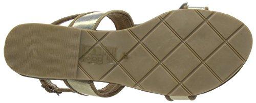 xyxyx - Sandal, Scarpe col tacco con cinturino a T Donna Oro (Gold (gold/beige))