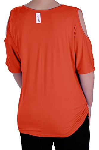 EyeCatch - Liya Dames Plaid Épaule Couper Classique Tunique Femmes Tops Orange