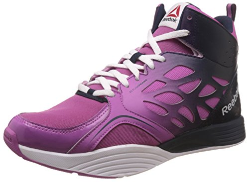 Reebok Women's Cardio Inspire Mid Red, Blue and White Mesh Sneakers