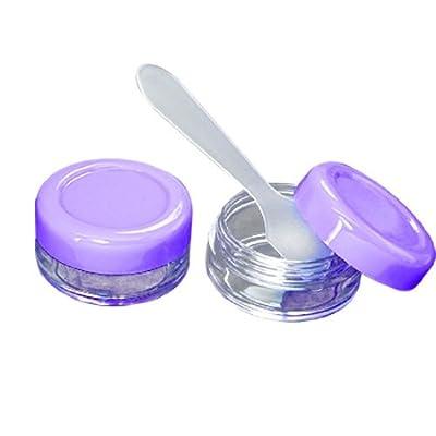 Taveling Kunststoff 2 PCS die purpurrote kosmetische Creme Box + Löffel von DealMux