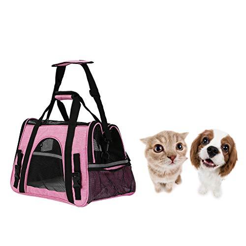 Tragbare Tragetasche für Haustiere, leichte Tragetasche für Hunde, Pet Cage Canvas Folding Puppy Fabric Travel Bag,Pink -