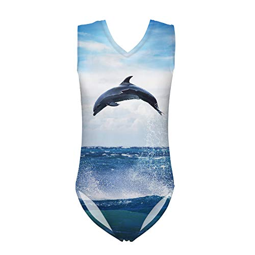 Nopersonality Mädchen Badeanzug Gr. 5-6 Jahre, Delfin