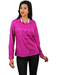 Old Khaki Solid Cotton Casual Partywear Shirt Women's Girls Shirt with Swaroski Stones on The Double Pockets in Violet Color with Contrast & Free Shipping