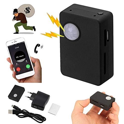 Panamami Mini-Ausrüstung und leichte langlebige Infrarot GSM MMS & Anruf Alarm Quad-Band-Sensor mit Kamera Mic Tracker x9009 - schwarz Mms-alarm