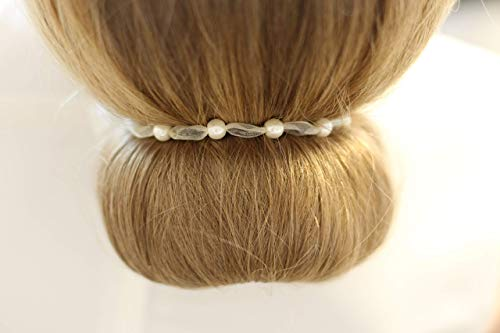 Haarband weiß 5 Perlen 6mm Kommunion Konfirmation Haarschmuck Halsband Duttband weißes Band Dutt Flechte Brautschmuck Halskette Kette Braut Geschenke