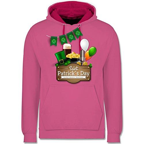 Festival - Saint Patrick's Day Happy music festival - Kontrast Hoodie Rosa/Fuchsia