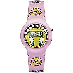 TW-01-Warner Bros Tweety Watch-Digital Quartz-Yellow Dial Pink Plastic Strap
