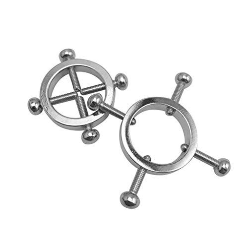 WZJJ Paar Nippelringe für Frauen Männer Körper Piercing Ringe Schraube Körper Piercing Schmuck verstellbaren Kreis Edelstahl Faux Nippel Schmuck Schraube -