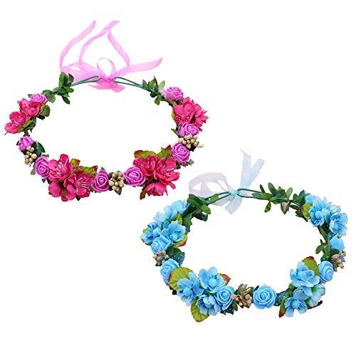 2 Stück Blumenkranz Stirnband Kranz Crown Rose Haar Girlande Blumen Kopfschmuck Haarschmuck für Hochzeitsstrand Hochzeit (Pink+Blau) (Blumen-stirnband Crown)