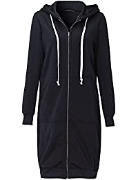 46aad990e81 Mujer Sudaderas con Capucha Largas Sweatshirt Cremallera Hoodies Jersey  Abrigos Chaquetas