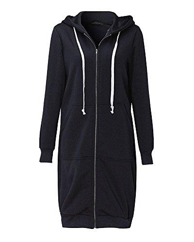 Donna Felpa Con Cappuccio Lunga Giacca Pullover Maniche Lunghe Zip Sweatshirt Cappotto Nero