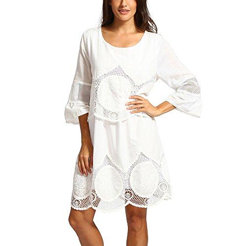 MCYs Große Größe Weiß Spitze Blumen Stickerei Aushöhlen Rundhalsausschnitt Boho Strand Kleid Sommerkleid Minikleid Cocktailkleid (4XL)
