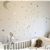Silver Metallic Nursery Wall Stickers/Decals Large Moon & Stars - Wall Art For Kids Rooms, Decor Murals