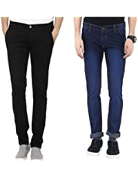 Urbano Fashion Blue & Black Slim Fit Stretch Jeans - Pack of 2