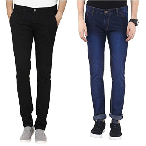 Urbano Fashion Blue & Black Slim Fit Stretch Jeans - Pack of...