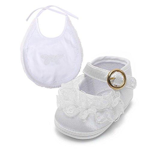 Delebao Babyschuhe Taufschuhe Krabbelschuhe Weiche Sohle Schnüren Weiße Schuhe Baby Taufe Kleinkind Solekleinkind Krippeschuhe Für Mädchen 6-9 Monate Schuhe & Lätzchen