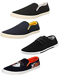 Chevit Men's Combo Pack Of 4 Smart Casual Shoes And Sneakers (Loafers And Mocassins) - B076X3T5YZ