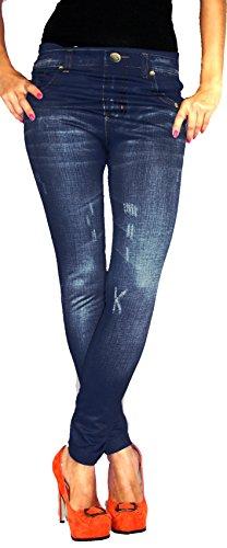 Jygles Leggings in Jeans Baumwolle Loock Optik Super Stretch Weich Warm (S/M = 36/38, Blau 02)