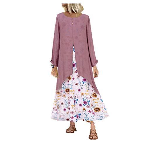 Robe Boheme Femme Vintage Grande Taille Col en v Conception d'épissage Imprimé Floral Manches Longues Robes Maxi Axong