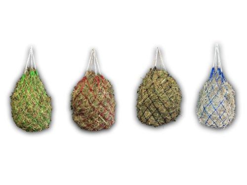 Heunetz für Pferde - Netz für artgerechte Fütterung, verbessert Verdauung & Wohlbefinden der Tiere Heu Gras Futter Stroh Futternetz Heusack – in rot