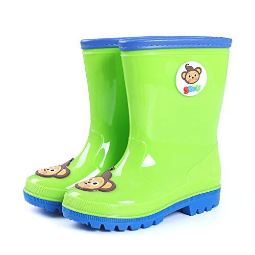 CKH Outdoor-Reisen Kinder Regen Stiefel Licht Und Bequeme Monkey Boy Baby Gummistiefel Regen Stiefel Mode Mädchen Wasser Schuhe In Der Röhre (Color : Green, Size : 34) -