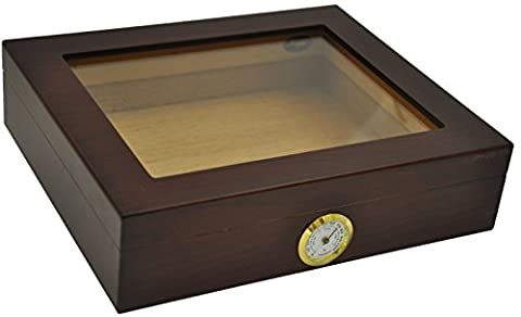 Humidor hold 20 cigars - glass top - hygrometer - Humidoro cigar cutter including