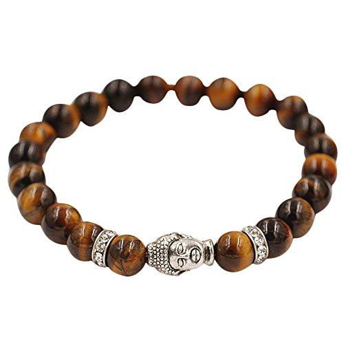Preisvergleich Produktbild JYJM 2019 Armband Silber Buddha Elastische Perlen Armband Tibet Charm Armbänder Halsketten für Frauen Halskette Damen mit Blau Herz elemente,  Schmuck Damen,  Geburtstagsgeschenk,  Kette Damen