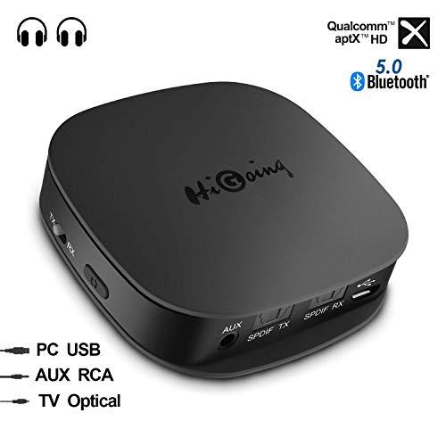 Bluetooth 5.0 Transmitter und Empfänger, HiGoing Kabellos Adapter 2 in 1 Sender Receiver mit Optischem Toslink / SPDIF und 3.5 mm AUX, aptX HD und aptX LL, Zwei Verbindungen für TV, PC, Heim-Stereoanlage und Auto-Soundsysteme etc