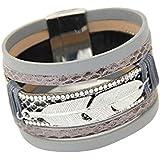 Bracelets, Oyedens Mode Plume Unisexe Cuir Multicouche Charme MagnéTique Bracelet Rigide, Gris