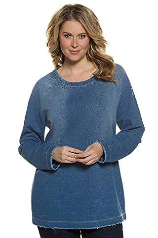 Ulla Popken Women's Plus Size Raw Edge Denim Look Sweatshirt