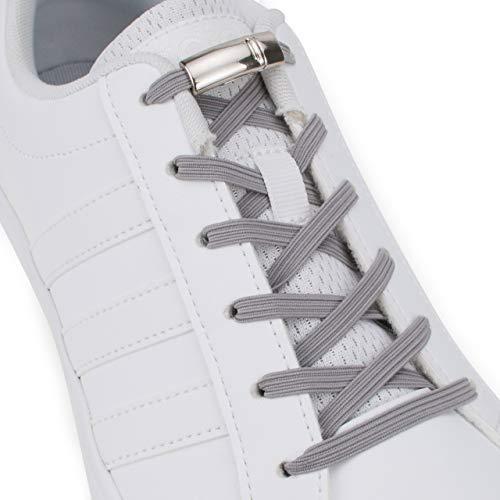 SULPO - Cordones elásticos de silicona con cierre magnético de metal, sin atar, cordones de silicona, juego de cordones sin lazos, cordones de goma para todos los zapatos gris gris