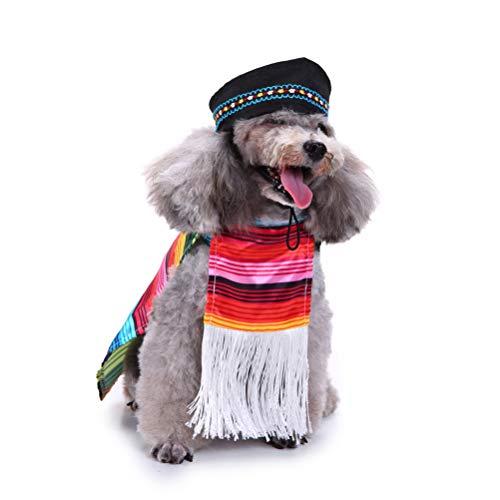 POPETPOP Cinco De Mayo Hundekostüm-Mexikanisch Sarape Pet Kostüm Sombrero Hund Poncho Mariachi Welpen Taco mit Hundekappen-Geeignet für kleine und mittelgroße Hunde (Größe XL)