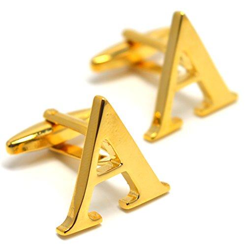MESE London Buchstabe Name A Initiale Manschettenknöpfe 18 Karat Vergoldet in Luxus Geschenkbox (Luxus Kostüm Schmuck London)