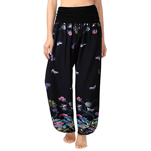 Palazzohose Yoga Hose, Dasongff Frauen Beiläufige Yogahosen Falten Kordelzug Breites Bein Aufflackern Pilates Hosen Lose Hosen Chic Capri Thai Hose -