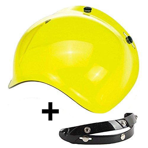 Blasen-Visier mit 3 Knöpfen, klappbar, Gelb, universal für Jet-Helm, kompatibel mit Helmen Biltwell Bell DMD Bandit AFX Nolan AGV.