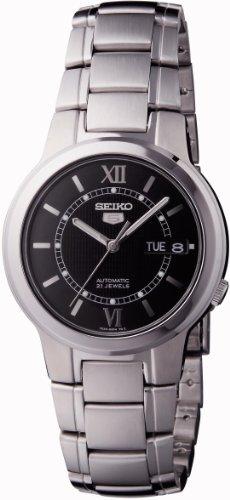 Seiko 5 Analog Black Dial Men's Stainless Steel Watch - SNKA23K1