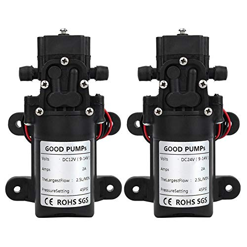 Hochdruck Membranpumpe, DC 12V / 24V 25W elektrische Wasserpumpe, 1,5-3L / m Selbstansaugende Membranwasserpumpe für Hochdruckreiniger, Wassersprühstrahl(DC12V)