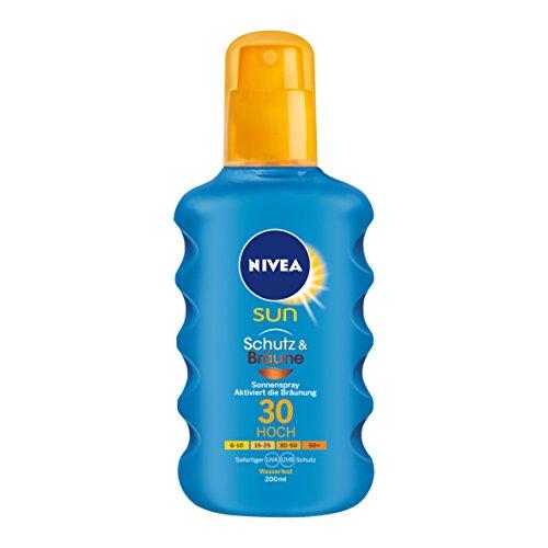 NIVEA SUN Sonnenspray mit Bräunungs-Aktivierung, Lichtschutzfaktor 30, 200 ml Sprühflasche, Schutz & Bräune
