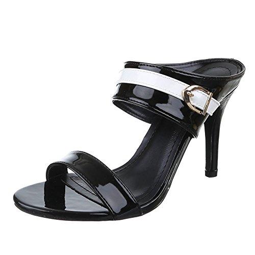 Damen Schuhe, AF16226, SANDALETTEN HIGH HEELS PUMPS Schwarz