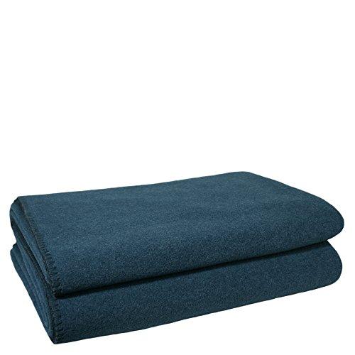 Soft-Fleece-Decke - Polarfleece-Decke mit Häkelstich - flauschige Kuscheldecke - 110x150 cm - 795 dark ocean - von 'zoeppritz since 1828' - Ocean Fleece-stoff