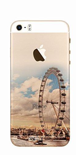 MPPK-Hamburg ® Apple iPhone ® 5 / 5S / SE 4 Zoll Schutz Hülle - Case in wunderschönem Design – Stabiles / transparentes PC - Hirsch im Gebirge Riesenrad