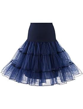 QinMM Falda Danza Ballet Falda A-lìnea alta Cintura Elástica Tutú Princesa Midi Falda de Tul Skirt para Mujer