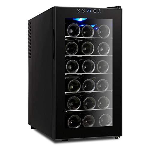 Schwarz Thermoelektrische Weinkühler (18 Flaschen Freistehender Touchscreen-Weinkühler, elektronische Steuerung, Weinkühlschränke, Weinkühlschrank, schwarz, 48 ltr.)