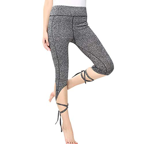 n Sport Kurzer Absatz Strumpfhosen Fitnesshose Leggings Bequem Hohe Taille Spitze Sporthosen Yogahosen (Grau, S) ()