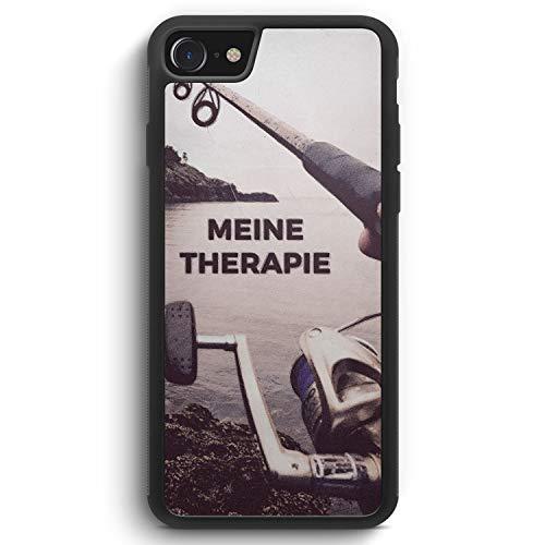 Meine Therapie Angeln Angler - Silikon Hülle für iPhone 8 - Motiv Design Spruch Schön - Cover Handyhülle Schutzhülle Case Schale