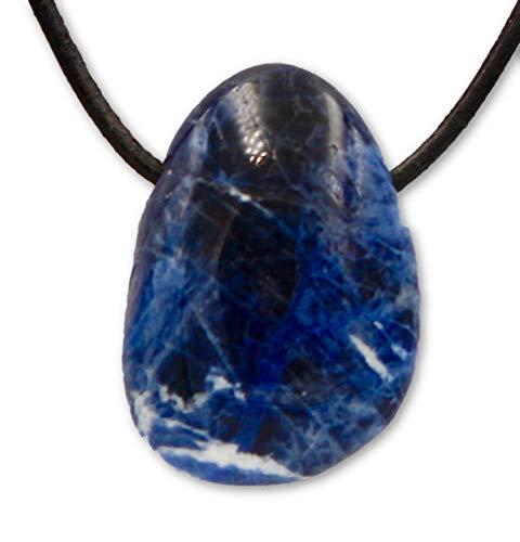 Taddart minerals - ciondolo a forma di tamburo, in pietre naturali di sodalite con catena in pelle