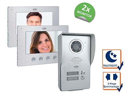 ELRO 2 Familien Video Türsprechanlage mit 2x 7 Zoll Innenmonitor & Türöffner, 4-Draht Außenstelle mit Kamera