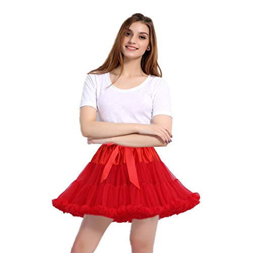 Amosfun 1 Pc Tulle Rock Beautiful Layered Soft Tutu Rock Dress Kostüm Midiskirt für Cosplay Showing Stage Party Red