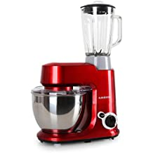 Klarstein Carina Rossa Set Robot de cocina multifunción con batidora de vaso de 1,5L (800W, 4 litros, 6 niveles ajustebles, batidora, monta claras, amasadora, mezcladora, blender, tapa extraible, sistema seguridad, fácil de usar y de limpiar) Rojo